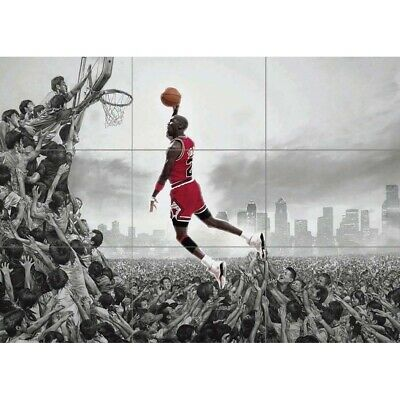 Michael Jordan NBA Slam Dunk Basketball Giant Wall Mural Art Poster Print 50x35""