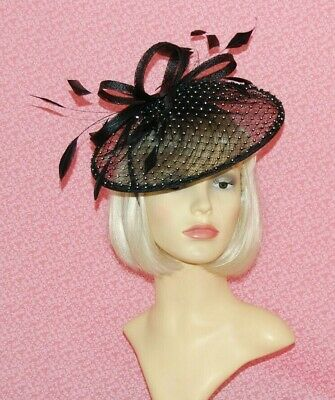 Black Sinamay Disc Fascinator with Loops & Diamante Detail on Head Band