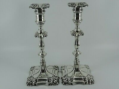 Large Victorian Solid Sterling Silver Pair Of Candlesticks Sheffield 1895 1510G