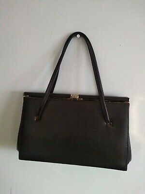 VINTAGE 40s 50s 60s Brown Faux Leather Kelly Handbag Gilt FRAME Good condition