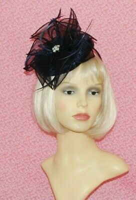 Navy Blue Sinamay Pillbox Fascinator With Flower & Diamante Detail on Head Band