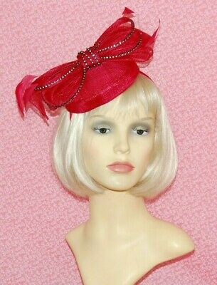 Elegant Red Sinamay Pillbox Fascinator With Bow & Diamante Detail on Head Band.