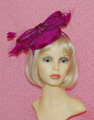 Magenta Pink Sinamay Pillbox Fascinator With Bow & Diamante Detail on Head Band