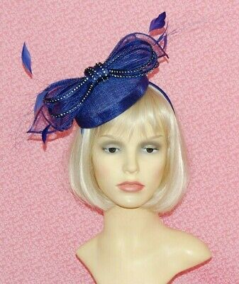 Royal Blue Sinamay Pillbox Fascinator With Bow & Diamante Detail on Head Band