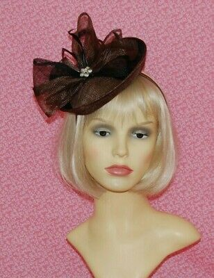 Brown & Black Sinamay Disc Fascinator With Bow & Diamante Detail on Head Band