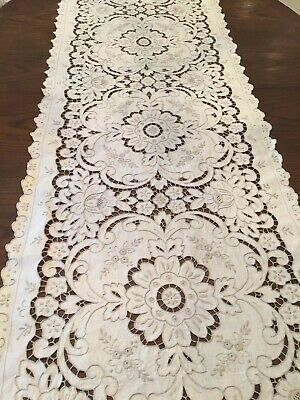 Vintage EXTRA LONG Table Runner Madeira Cutwork Embroidered Flower Taupe Linen