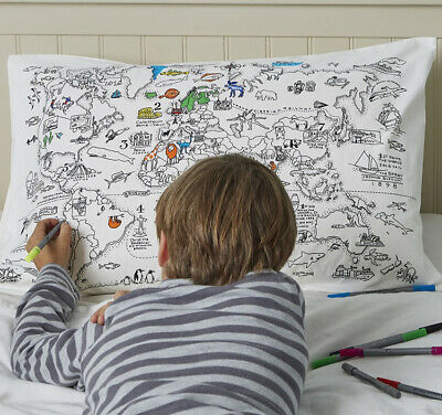 Doodle World Map Pillowcase with Wash Out Fabric Pens - 100% Cotton