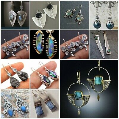 Vintage 925 Silver Moonstone Turquoise Ear Hook Stud Dangle Drop Women Earrings
