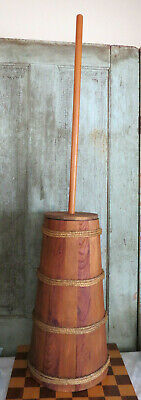 LG Grubby Primitive Wood Wooden Country Farmhouse Butter Churn w Make Do Bands