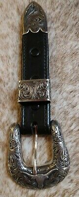 "Clint Orms Vintage Ranger 3 pc. Sterling Silver Buckle w/ Longhorn Fits 1"" Belt"