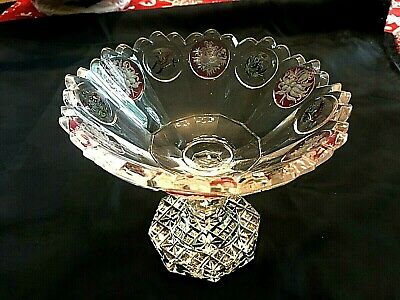 """1900's-1920's MOSER COLOR FLASHED ABP TYPE CUT SAWTOOTH&HARVARD-6 3/8"""" COMPOTE"""