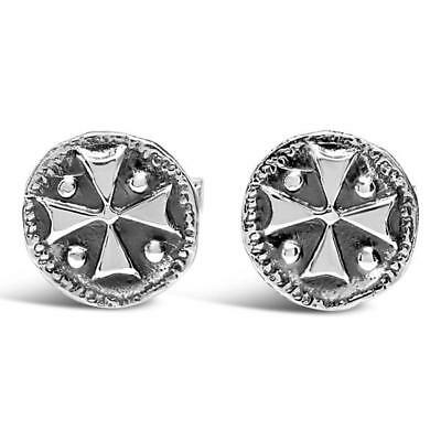 Sterling Silver Medieval Shield Cross Cufflinks Cuff Links Antique Ancient Coin