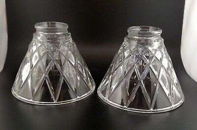 "Set of 2 Clear 6"" Diamond Cut Heavy Glass Cone Lamp Shade Light Fixture *MINT*"