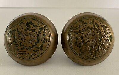 Pair of Antique Ornate Brass Capped Door Knobs Victorian Architectural Salvage