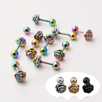 Rose Men back Steel Stainless stud 2pcs pierced Women flower 316L Screw earrings