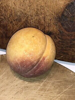 Early Vintage Antique Italian Alabaster Stone Fruit Yellow Peach Old Patina NM
