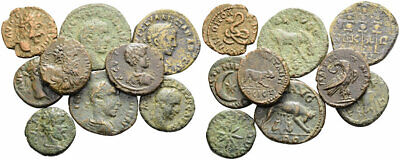 FORVM Lot of 9 Roman Provincial Bronze Coins Interesting Reverse Ancient