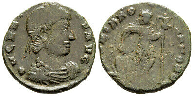 FORVM Gratian AE17 Emperor Holds Christian Banner and Dragging Captive
