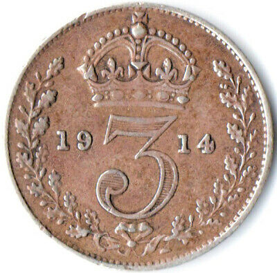 1914 SILVER COIN - THREEPENCE - George V.     #WT3259