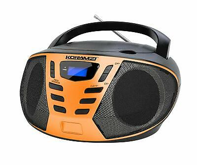 KORAMZI CD55-BKO Portable CD Boombox with AM/FM Radio (Black/Orange)
