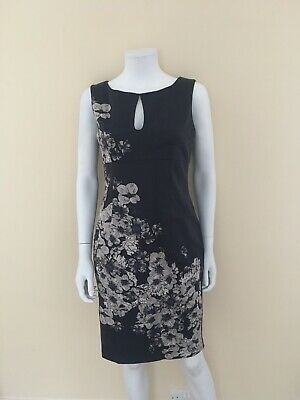 93994b53cb93 BNWT OASIS NAVY & White Floral Print Belted Pencil Dress - UK 10 ...