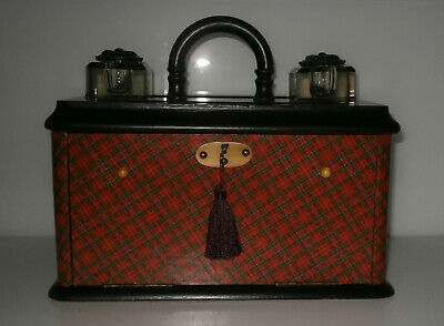 Beautiful Antique Tartan Ware Desk Stand Unusual Piece c1890-10