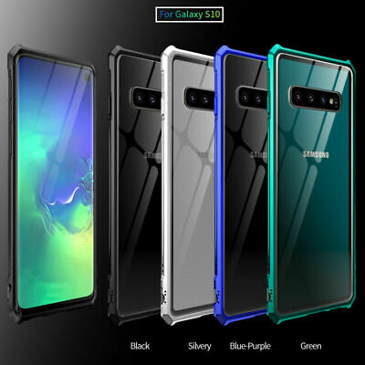 For Samsung Galaxy S10E S10 Plus Metal Frame Bumper Tempered Glass Case Cover