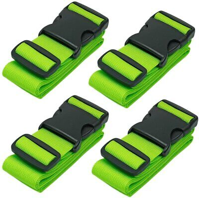 4 x High Visible Neon Adjustable Safety Travel Suitcase Luggage Straps Tie Belt