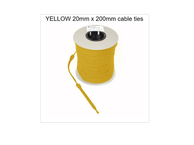 VELCRO CABLE TIES  RE-USABLE ONE WRAP 20mm x 200mm YELLOW (CABLE  MANAGEMENT )