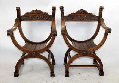 Pair Italian Savonarola chairs, early 1900s