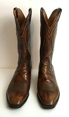 d60243f2d85 LUCCHESE MENS VINTAGE San Antonio Classic Western Boots Goat Brown Brush  Off 10D