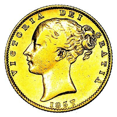 1857 Queen Victoria Great Britain London Mint Gold Sovereign Coin