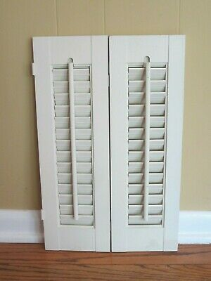 "One Pair of Wooden Louvered Window Shutter 19-1/4"" Tall x 12-1/4"" Wide (Across)"