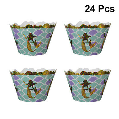 24 Pcs Cake Wrappers Exquisite Mermaid Theme Cake Cup Holder Birthday Decoration