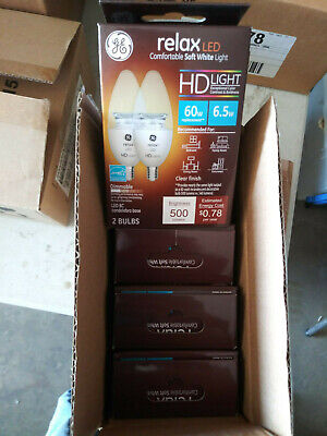 Lot GE HD Light Relax LED Soft White 60w Candelabra 500 Lumens Dimmable 8 Bulbs