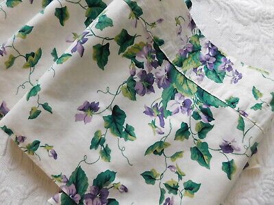 Vintage Fabric Window Valance Gorgeous Shabby Purple Violets & Green Ivy