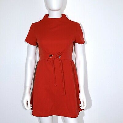 Vintage Mod Mini Dress XS S Red Retro 1960s Short Sleeves High Neck Sears