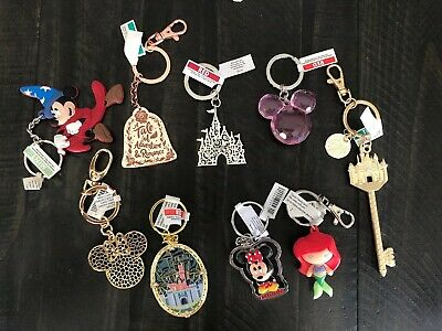 Disney Parks Minnie Mouse Pink Head Belle Castle Ariel Tinker Mickey Keychains