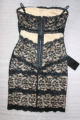 NWT bebe black beige ivory overlay lace mesh strapless sexy top dress XXS 0 hot