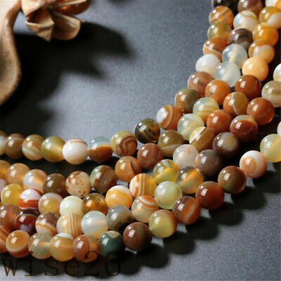 4/6mm Natural Tawny Stripe Banded Agate Round Gemstone Loose Beads 15.5""