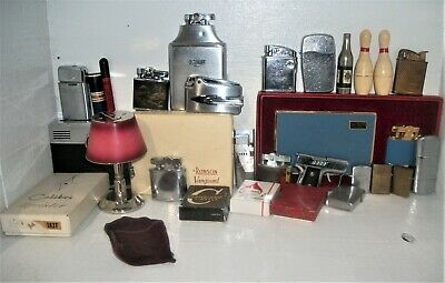 24 Vintage Cigarette Lighters Ronson  Zippo  Longines Astra Bowling Pin Lamp++