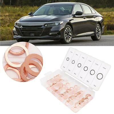 110 pcs Mixed Size Copper Washer Assortment Flat Ring Oil Brake Line Seal BT