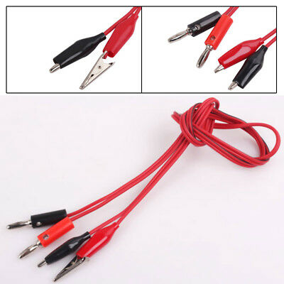 2PC Red+Black 1M Alligator Test Lead Clip to Male Banana Plug Cord Cable