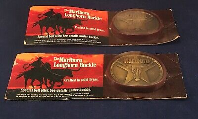 2 Philip Morris 1980s Marlboro Cigarettes Belt Buckle Solid Brass Longhorn Steer