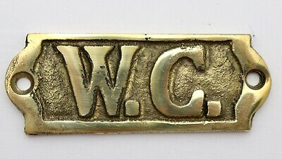 W.C. WATER CLOSET SOLID BRASS PLAQUE SIGN Bathroom, Boat, House, Restaurant,