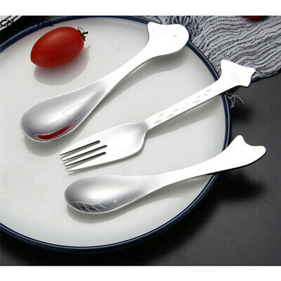 Baby Teaspoon Spoon Feeding Fork Stainless Steel Infants Animals Tableware BS