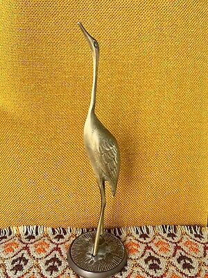 "VINTAGE SOLID BRASS Crane bird Statue Figure 7"" Heavy"