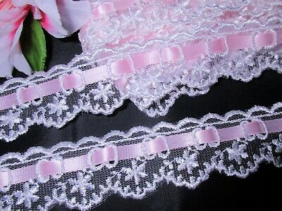 Satin  Ruffle Lace Trim 3//4 inch wide Celadon Green//White selling by the yard
