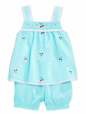 First Impressions Baby Girls 2-Pc Top & Bloomers Set - Aqua Shine - 0-3M