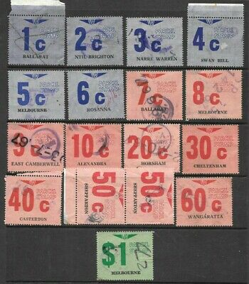 Victorian Railway Parcel Stamps 1c to $1 x 17 good used/ fine used